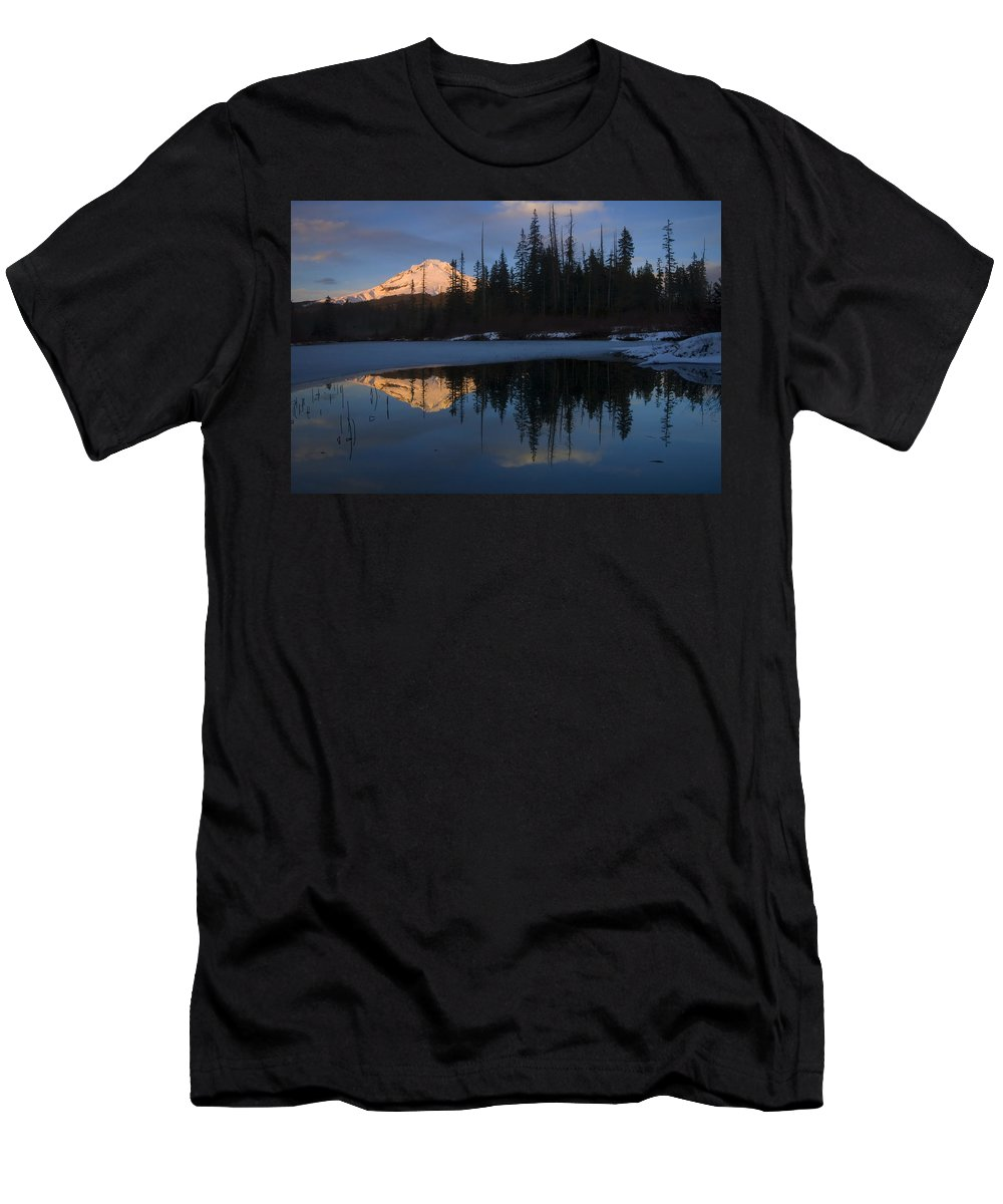 Mt. Hood Men's T-Shirt (Athletic Fit) featuring the photograph Hood Alpenglow by Mike Dawson