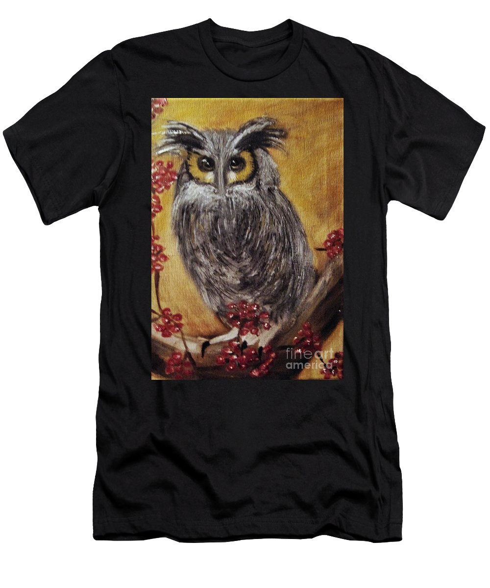 Long-eared Men's T-Shirt (Athletic Fit) featuring the painting Hooting by Angela Cartner