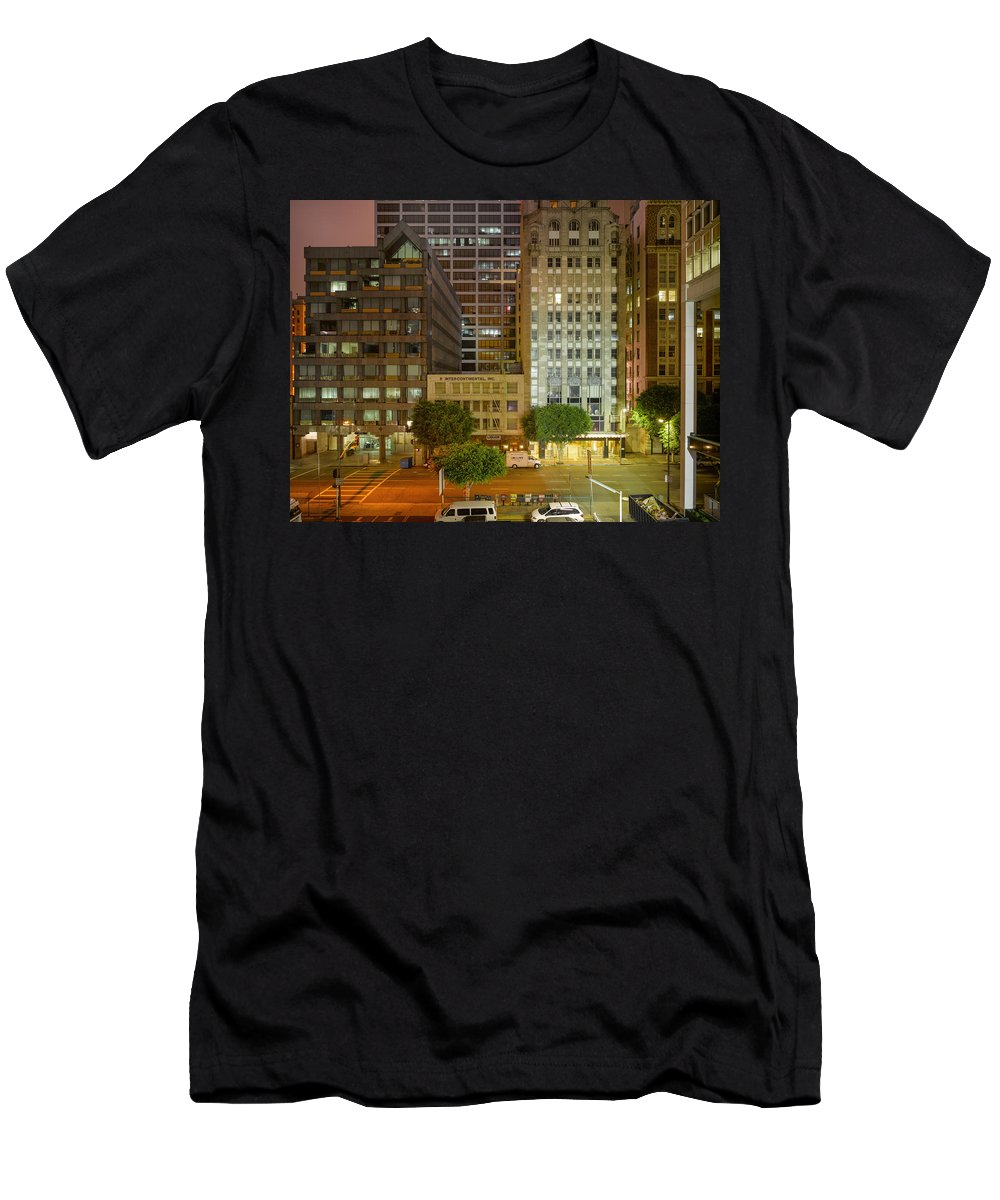 Reset Men's T-Shirt (Athletic Fit) featuring the photograph Hope Street Night Dtla by Richard Lund
