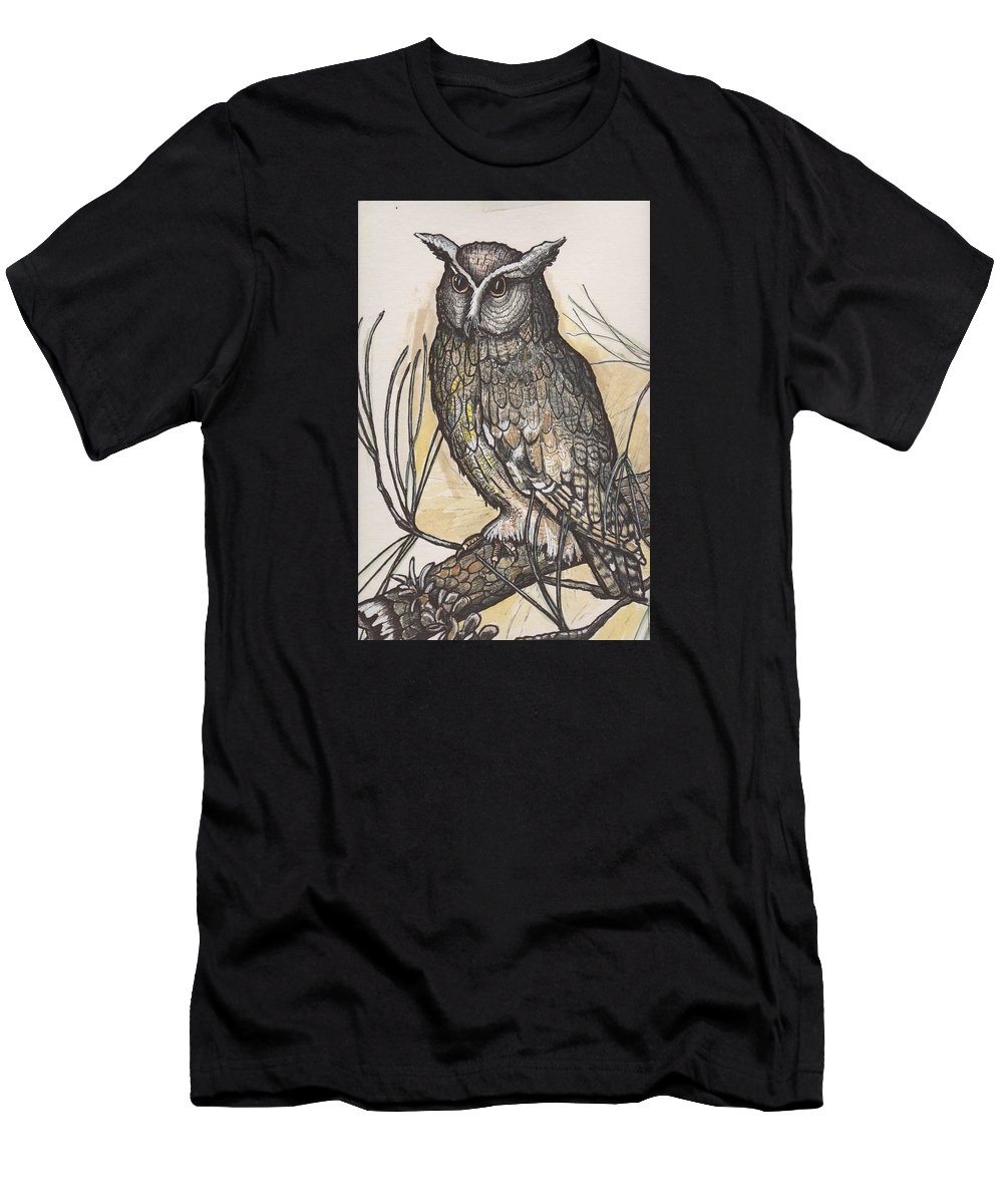 Painting Men's T-Shirt (Athletic Fit) featuring the drawing Horned Owl And Pine by Dorcas Otis
