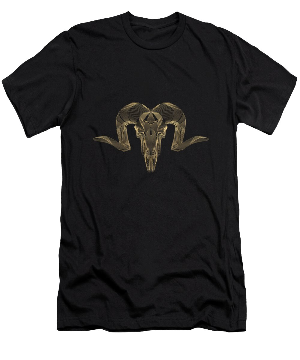 """""""horned Skulls"""" Collection By Serge Averbukh T-Shirt featuring the digital art Horned Skulls - Gold Ram Skull X-ray Over Black Canvas No.1 by Serge Averbukh"""