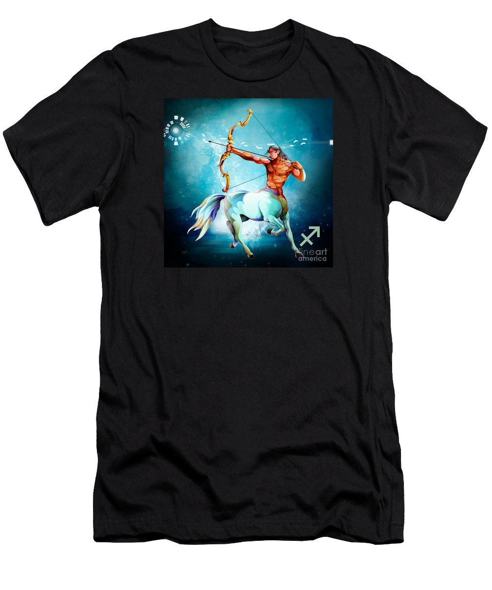 Zodiac Men's T-Shirt (Athletic Fit) featuring the digital art Horoscope Signs-sagittarius by Peter Awax