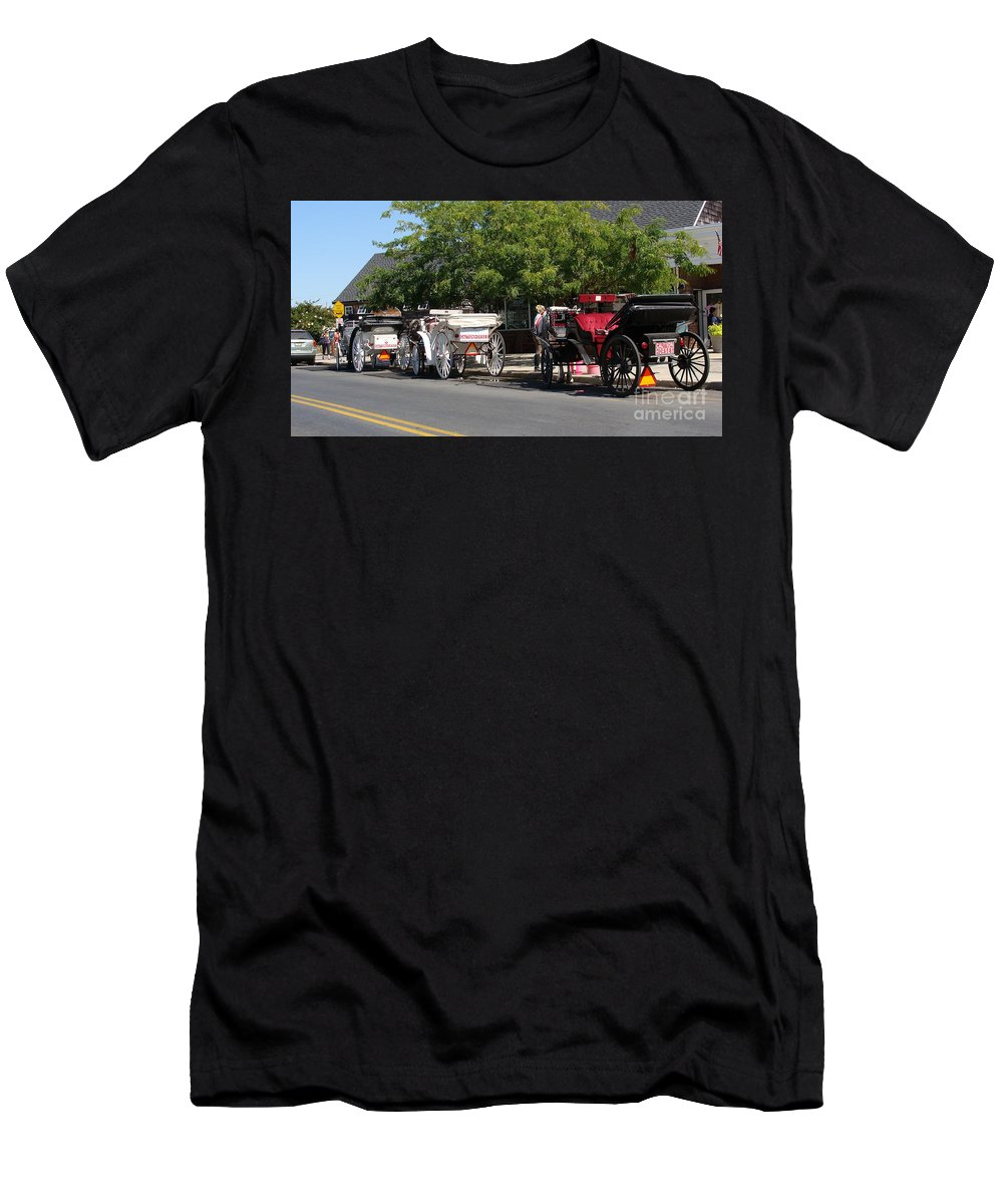 Horses Men's T-Shirt (Athletic Fit) featuring the painting Horse And Carriage Ride by Rod Jellison