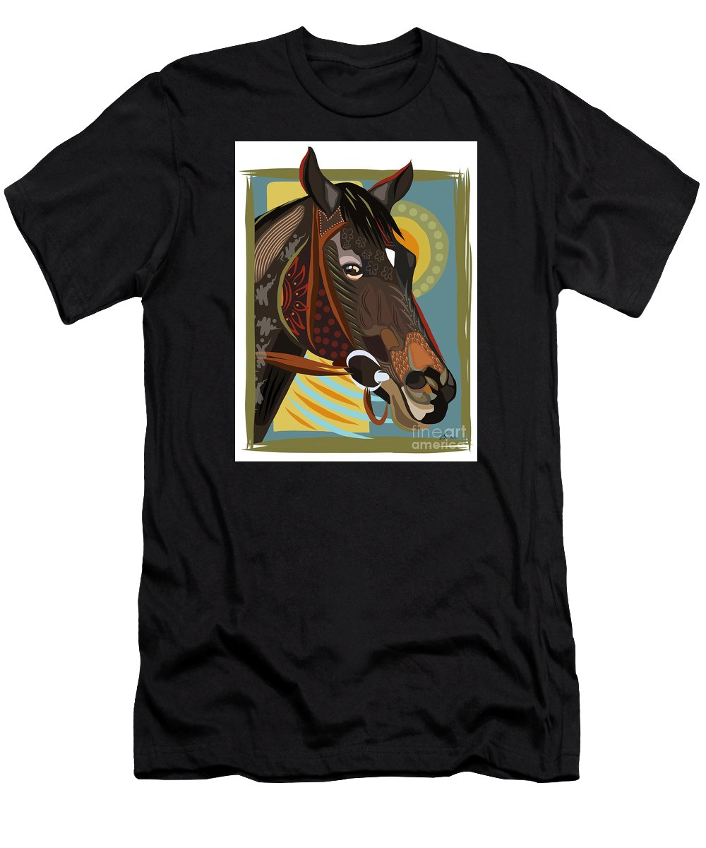 Equine Men's T-Shirt (Athletic Fit) featuring the painting Horse Attitude by Dania Sierra