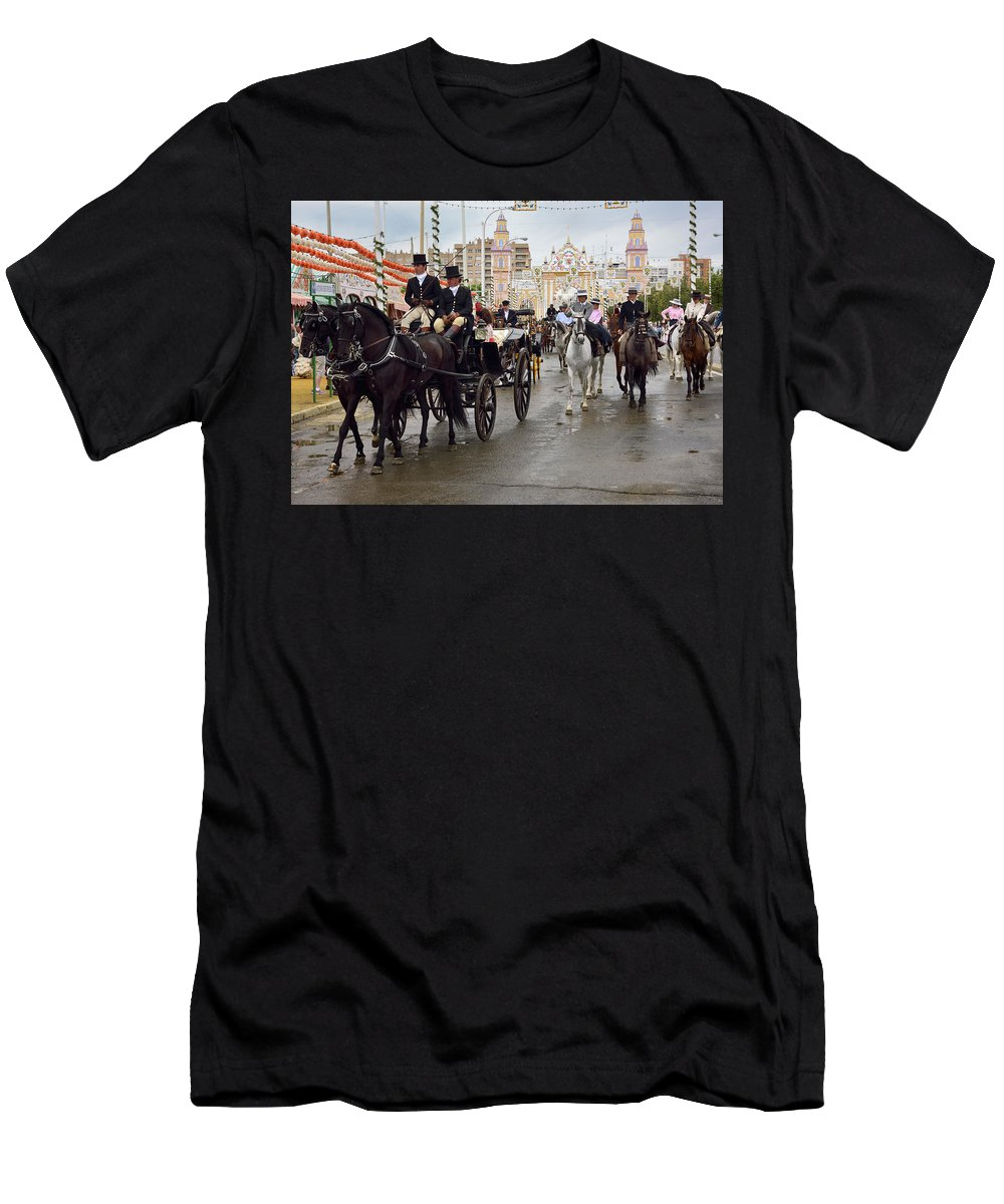 Parade Men's T-Shirt (Athletic Fit) featuring the photograph Horse Drawn Carriages And Women On Horseback Riding Sidesaddle O by Reimar Gaertner