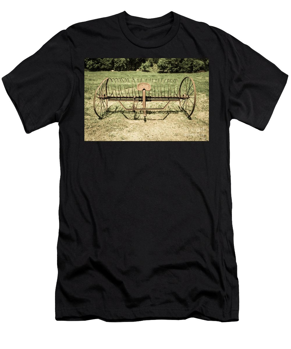 Aged Men's T-Shirt (Athletic Fit) featuring the photograph Horse Drawn Hay Rake Aged by Jennifer White