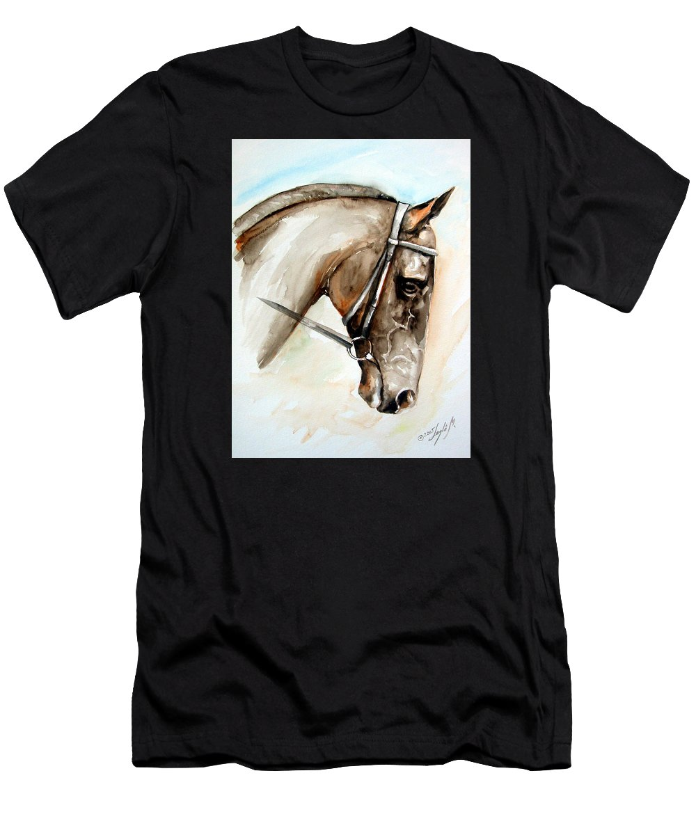 Horse Men's T-Shirt (Athletic Fit) featuring the painting Horse Head by Leyla Munteanu