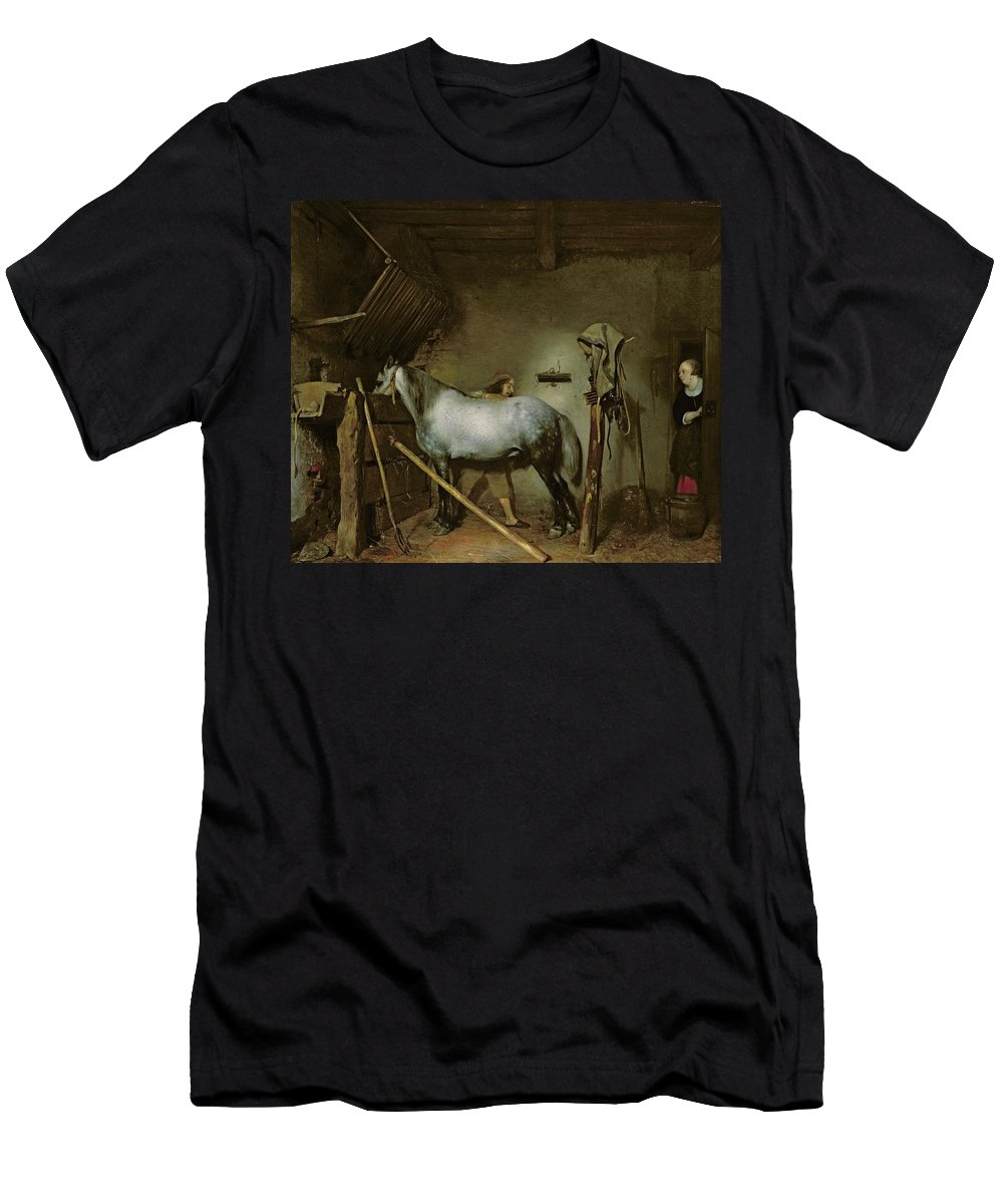 Horse Men's T-Shirt (Athletic Fit) featuring the painting Horse In A Stable by Gerard Terborch