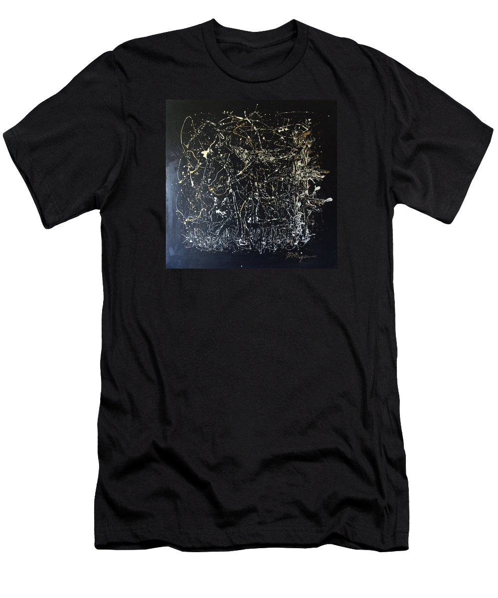 Horse In Pasture Men's T-Shirt (Athletic Fit) featuring the mixed media Horse In Pasture by J R Seymour