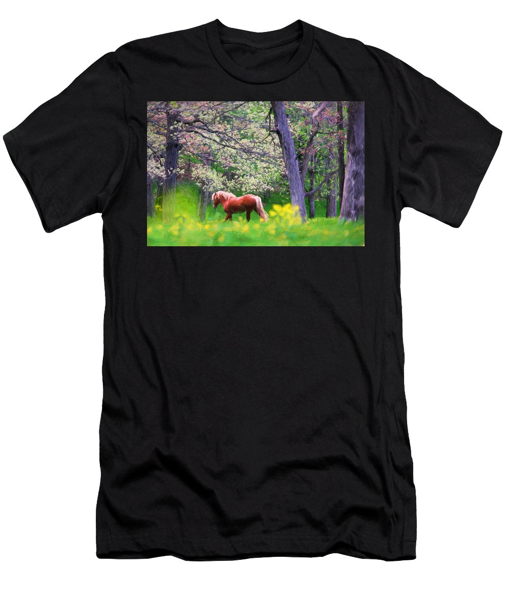 Woods Men's T-Shirt (Athletic Fit) featuring the painting Horse Running In Spring Woods by Vicki France