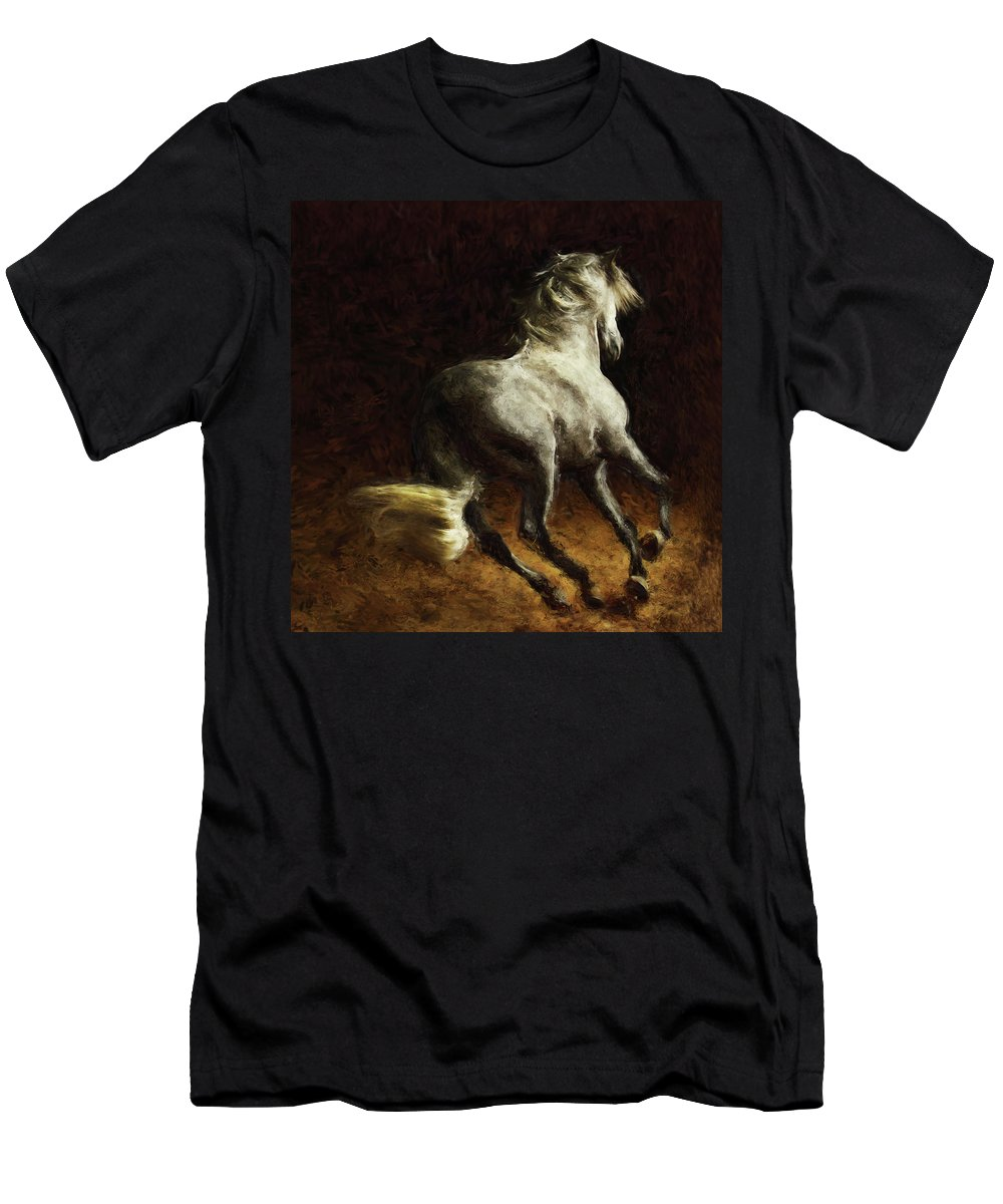 Horse Men's T-Shirt (Athletic Fit) featuring the painting Horse by Shahzad Hamid