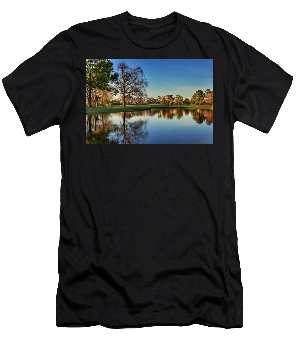 Hearthstone Men's T-Shirt (Athletic Fit) featuring the photograph Horsepen Creek #8 by Mike Harlan