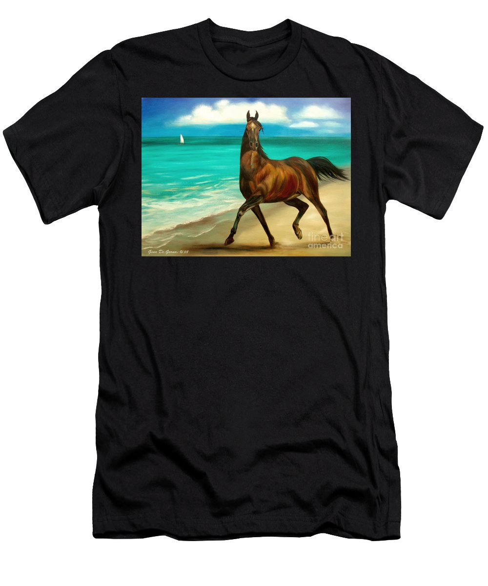 Horse Men's T-Shirt (Athletic Fit) featuring the painting Horses In Paradise Dance by Gina De Gorna