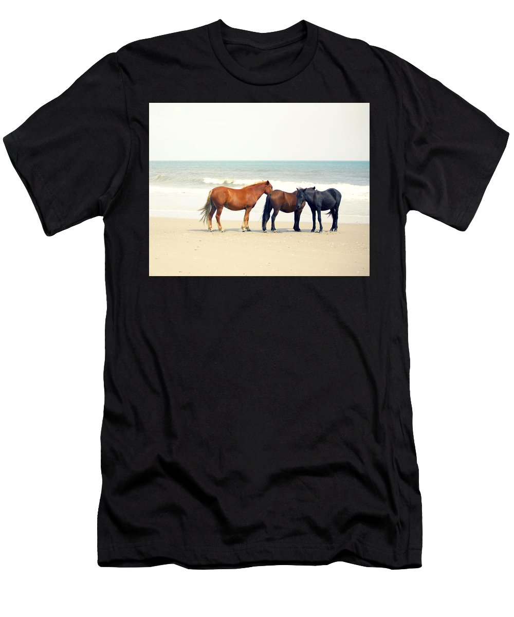 Horse Men's T-Shirt (Athletic Fit) featuring the photograph Horses On Beach by Beach Bum Chix