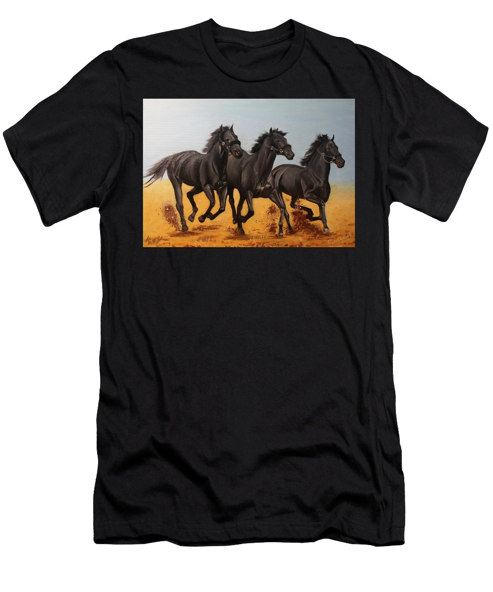 Horse Men's T-Shirt (Athletic Fit) featuring the painting Horses by Roman Zaric
