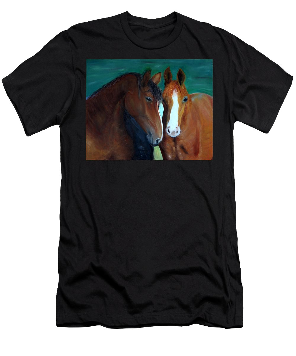 Horses Men's T-Shirt (Athletic Fit) featuring the painting Horses by Taly Bar