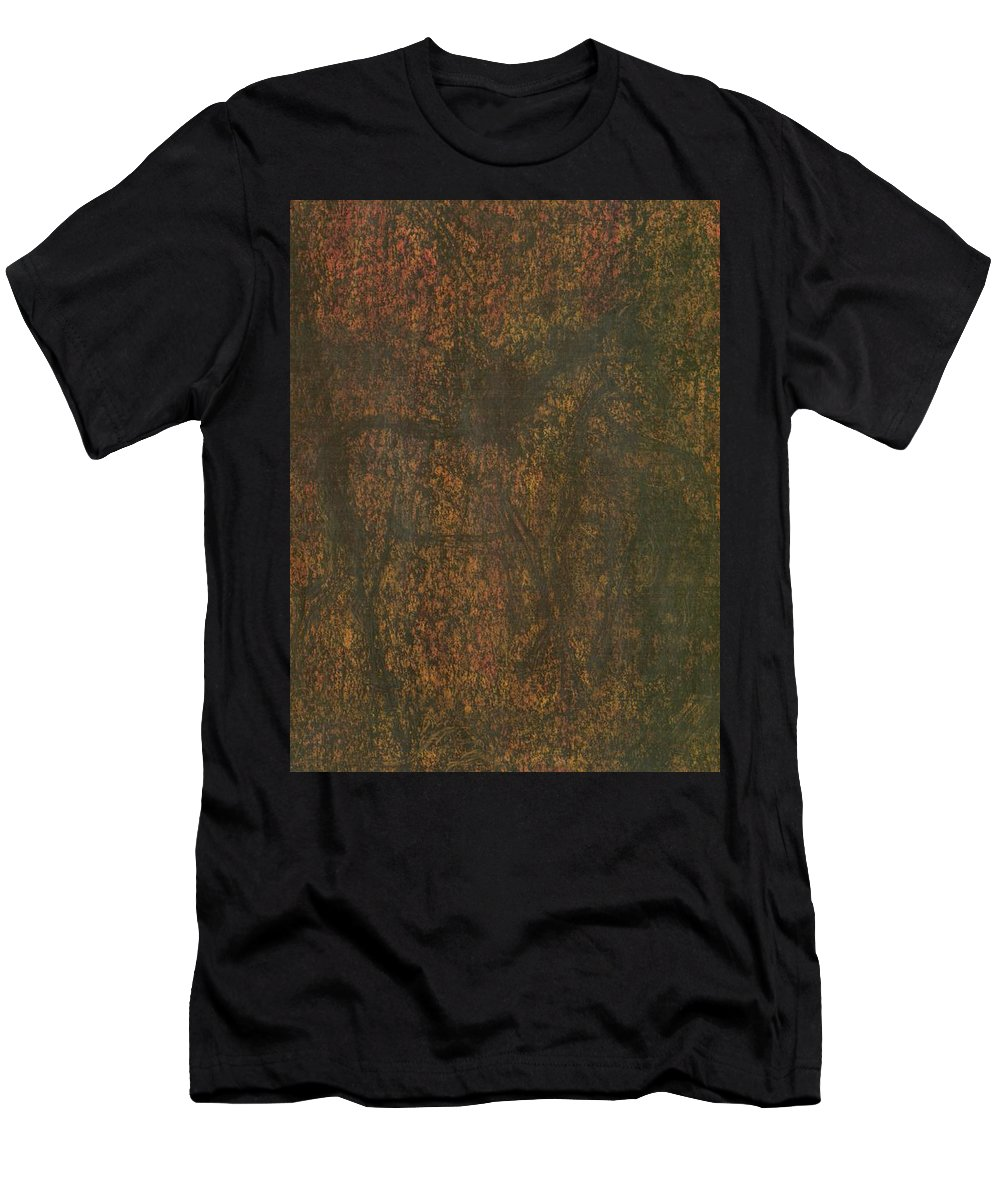 Energy Men's T-Shirt (Athletic Fit) featuring the painting Horses by Wojtek Kowalski