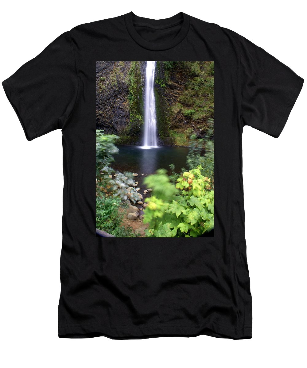 Columbia River Gorge Men's T-Shirt (Athletic Fit) featuring the photograph Horsetail Falls Basin by Marty Koch