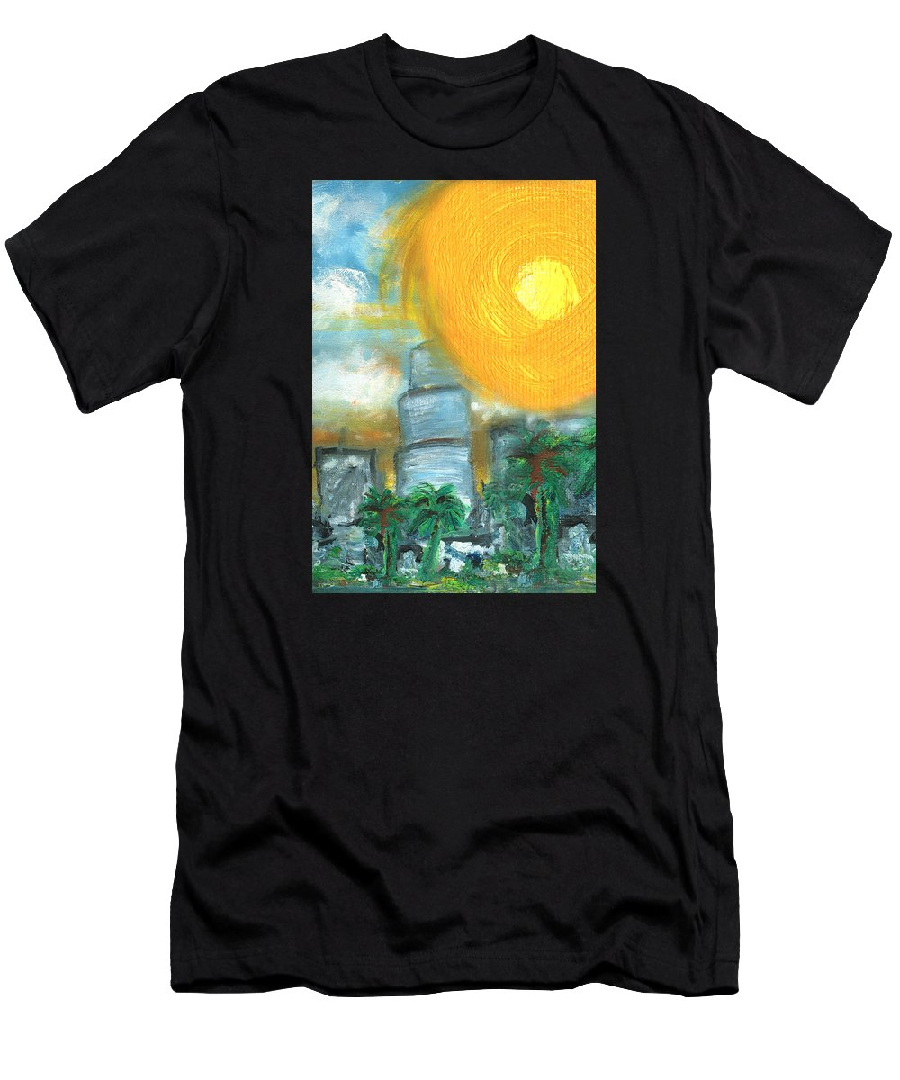 Miami Men's T-Shirt (Athletic Fit) featuring the painting Hot Miami Sky by Jorge Delara
