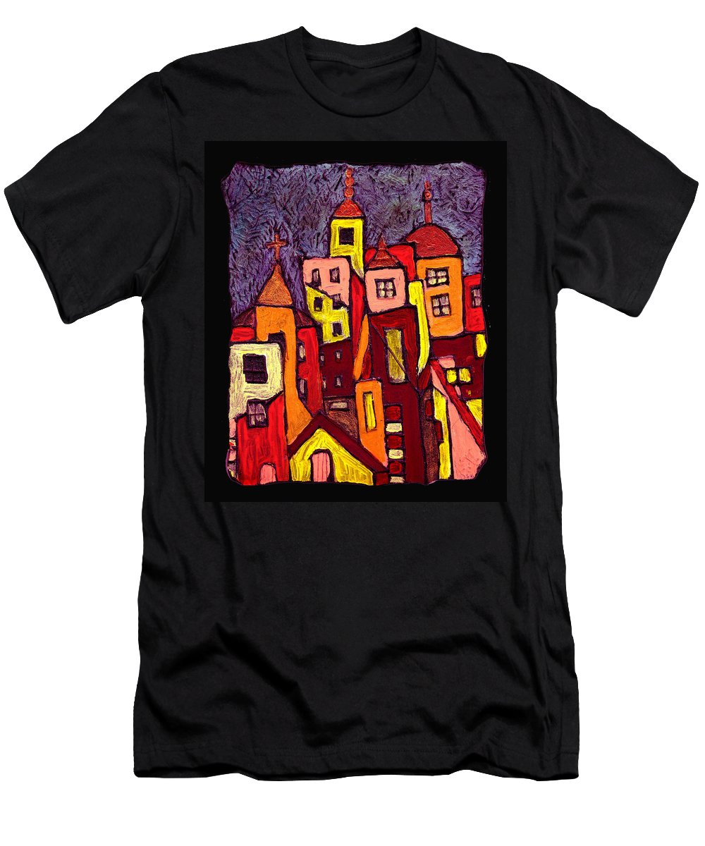 City Scapes Men's T-Shirt (Athletic Fit) featuring the painting Hot Night In The City by Wayne Potrafka