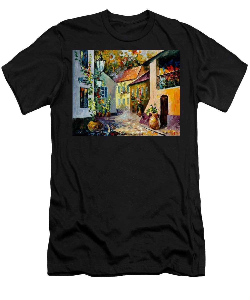 Landscape Men's T-Shirt (Athletic Fit) featuring the painting Hot Noon Original Oil Painting by Leonid Afremov
