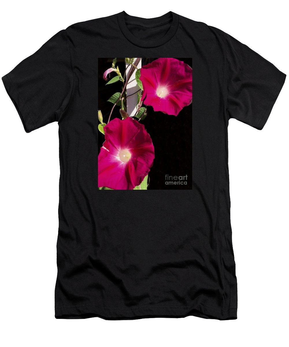Morning Glories Men's T-Shirt (Athletic Fit) featuring the photograph Hot Pink Glories by Anne Sands