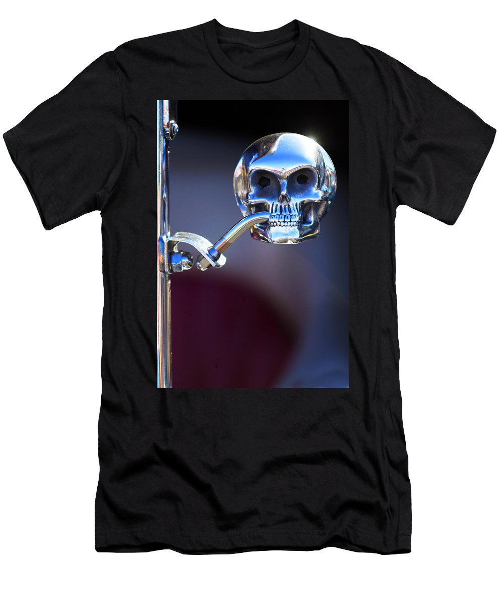 Car Men's T-Shirt (Athletic Fit) featuring the photograph Hot Rod Skull Rear View Mirror by Jill Reger