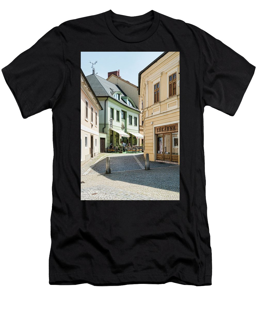 Central Europe Men's T-Shirt (Athletic Fit) featuring the photograph Hotel Around The Bend by Sharon Popek