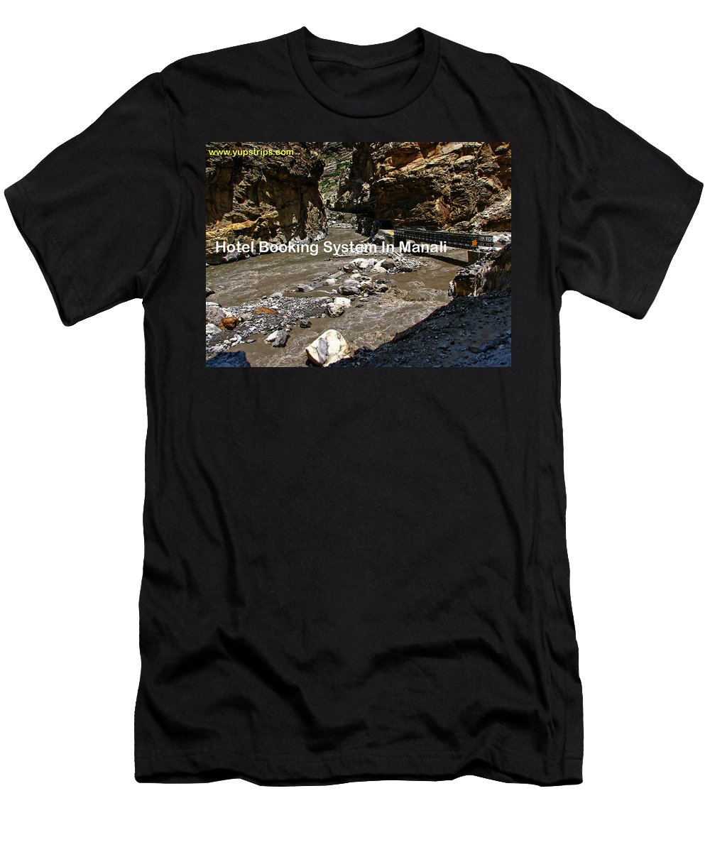 Hotel Room Booking Men's T-Shirt (Athletic Fit) featuring the photograph Hotel Booking System In Manali by Yupstrips