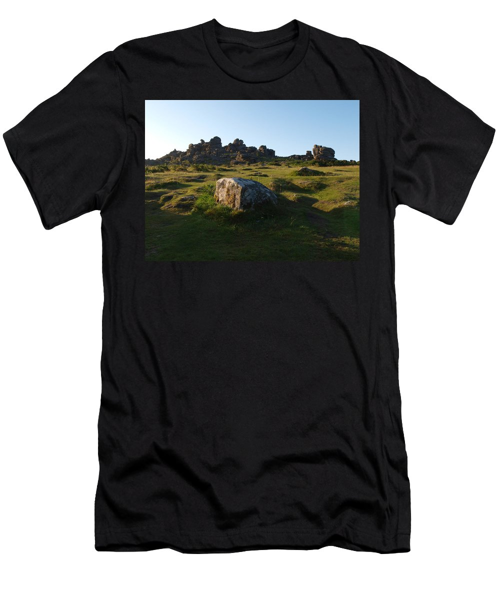 Granite Men's T-Shirt (Athletic Fit) featuring the photograph Houndtor Rocks by Michaela Perryman