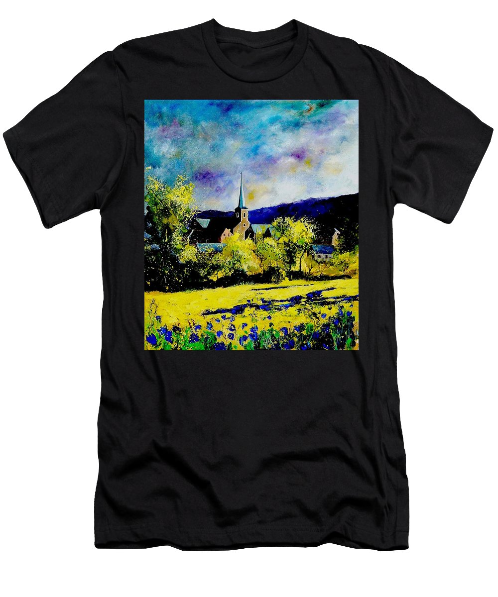 Poppies Men's T-Shirt (Athletic Fit) featuring the painting Hour Village Belgium by Pol Ledent