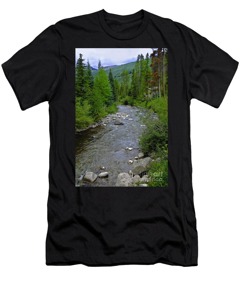 Spring Men's T-Shirt (Athletic Fit) featuring the photograph House By The Stream In Vail 2 by Madeline Ellis
