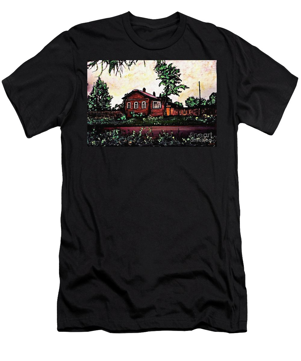 House Men's T-Shirt (Athletic Fit) featuring the mixed media House In Sergiyev Posad  by Sarah Loft