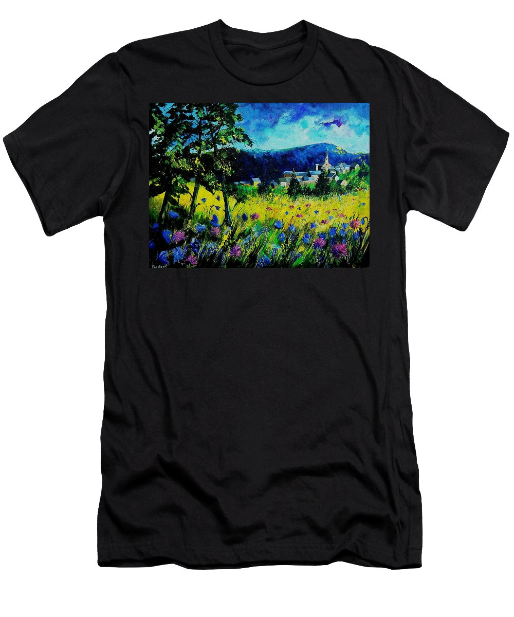 Flowers Men's T-Shirt (Athletic Fit) featuring the painting Houyet 68 by Pol Ledent