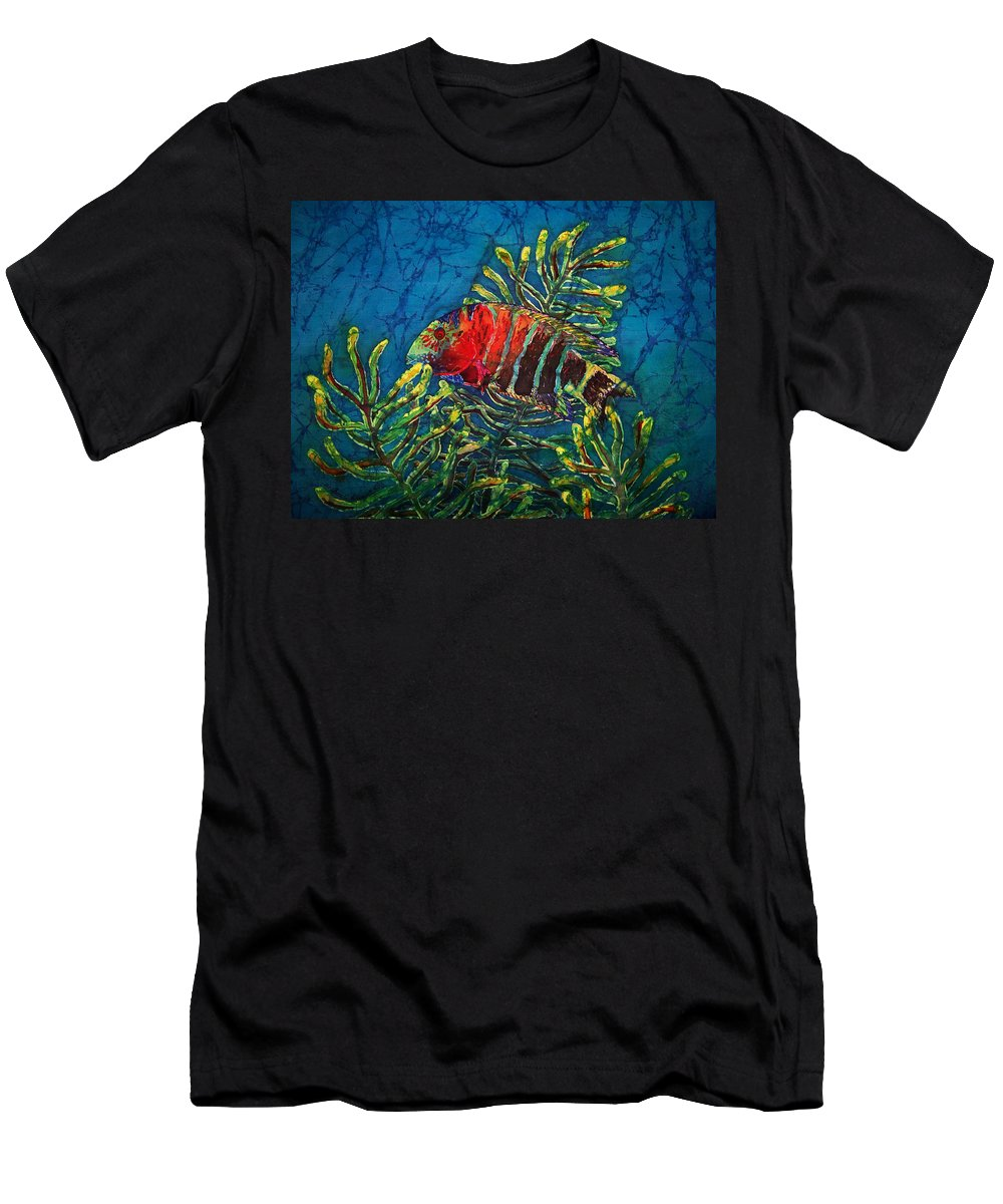 Fish Men's T-Shirt (Athletic Fit) featuring the painting Hovering - Red Banded Wrasse by Sue Duda