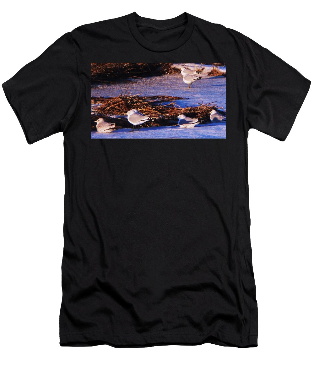 Beach Artwork Men's T-Shirt (Athletic Fit) featuring the painting Huddling On A Winter Day by Eric Schiabor