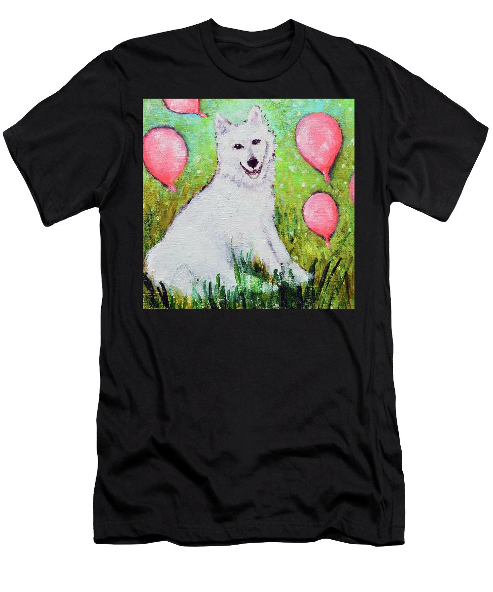 Pet Portraits Men's T-Shirt (Athletic Fit) featuring the painting Hudson by Ashleigh Dyan Bayer
