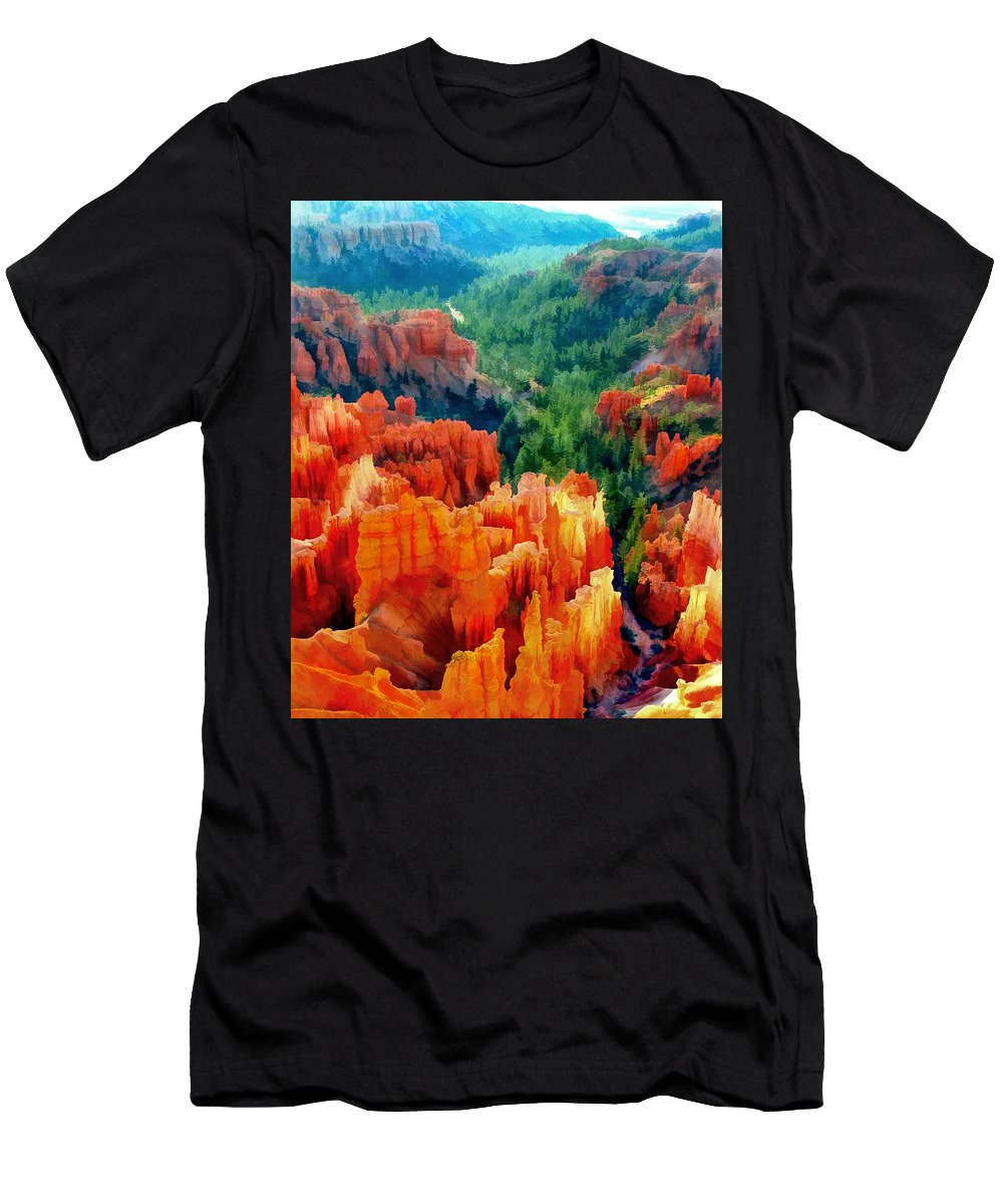 Nature Men's T-Shirt (Athletic Fit) featuring the painting Hues Of The Hoodoos In Bryce Canyon National Park by Elaine Plesser
