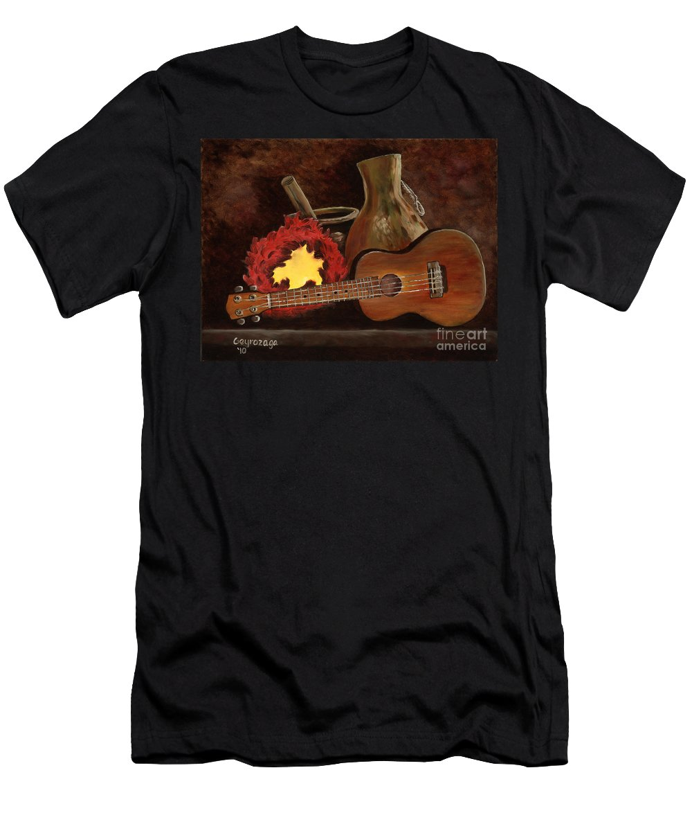 Ukelele Men's T-Shirt (Athletic Fit) featuring the painting Hula Implements by Larry Geyrozaga