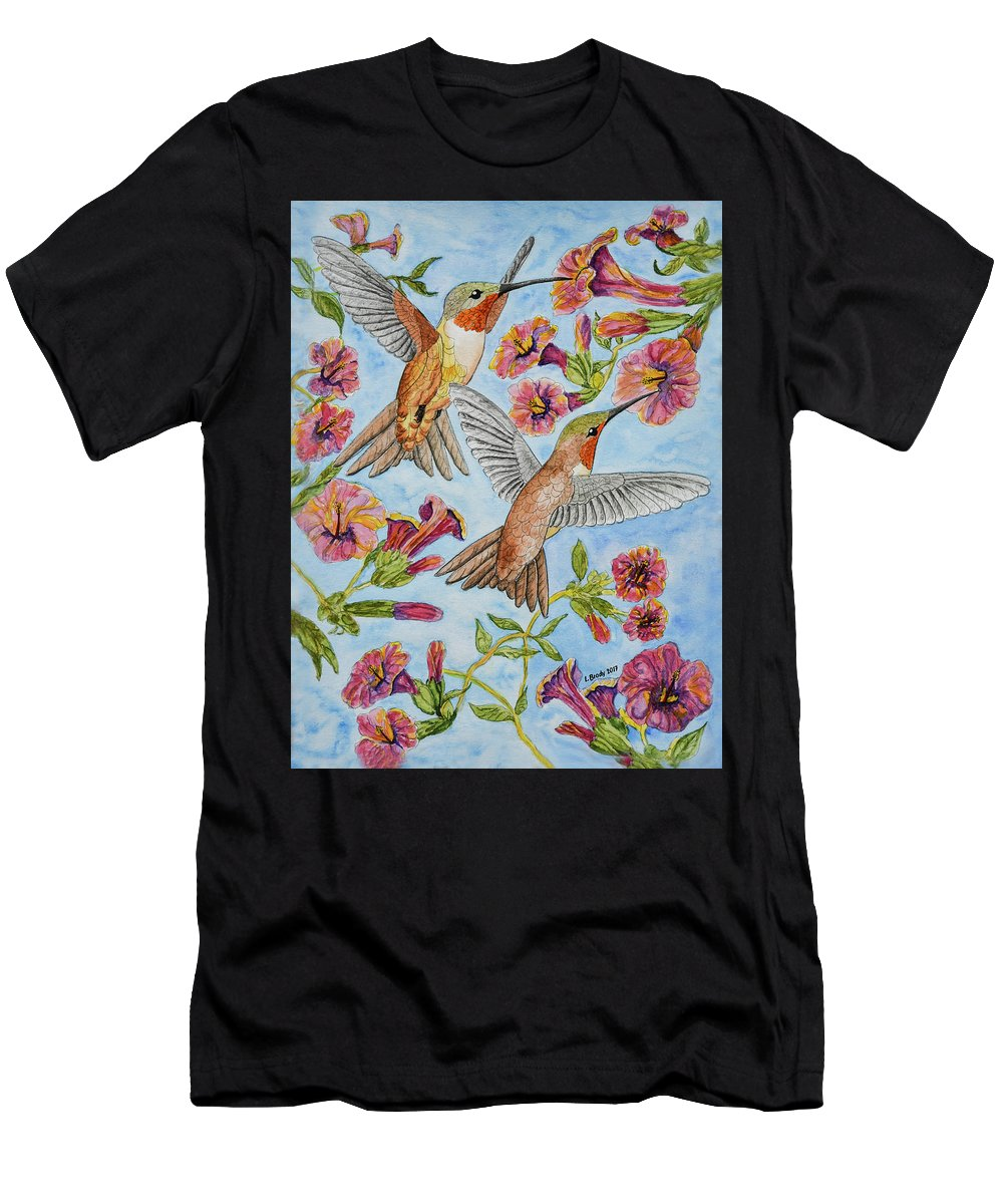 Linda Brody Men's T-Shirt (Athletic Fit) featuring the painting Hummingbirds And Hibiscus II by Linda Brody