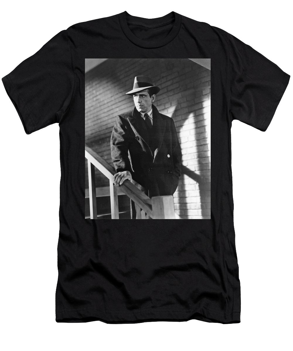 Humphrey Bogart Stairs The Maltese Facon 1941 Men's T-Shirt (Athletic Fit) featuring the photograph Humphrey Bogart Stairs The Maltese Facon 1941 by David Lee Guss