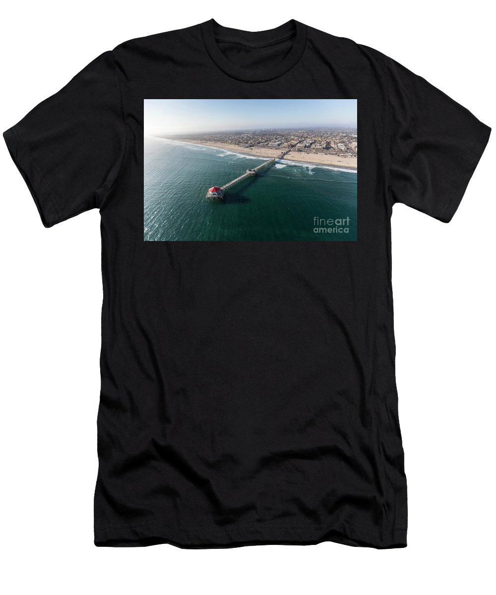 Huntington Beach Men's T-Shirt (Athletic Fit) featuring the photograph Huntington Beach Pier Aerial In Southern California by Trekkerimages Photography