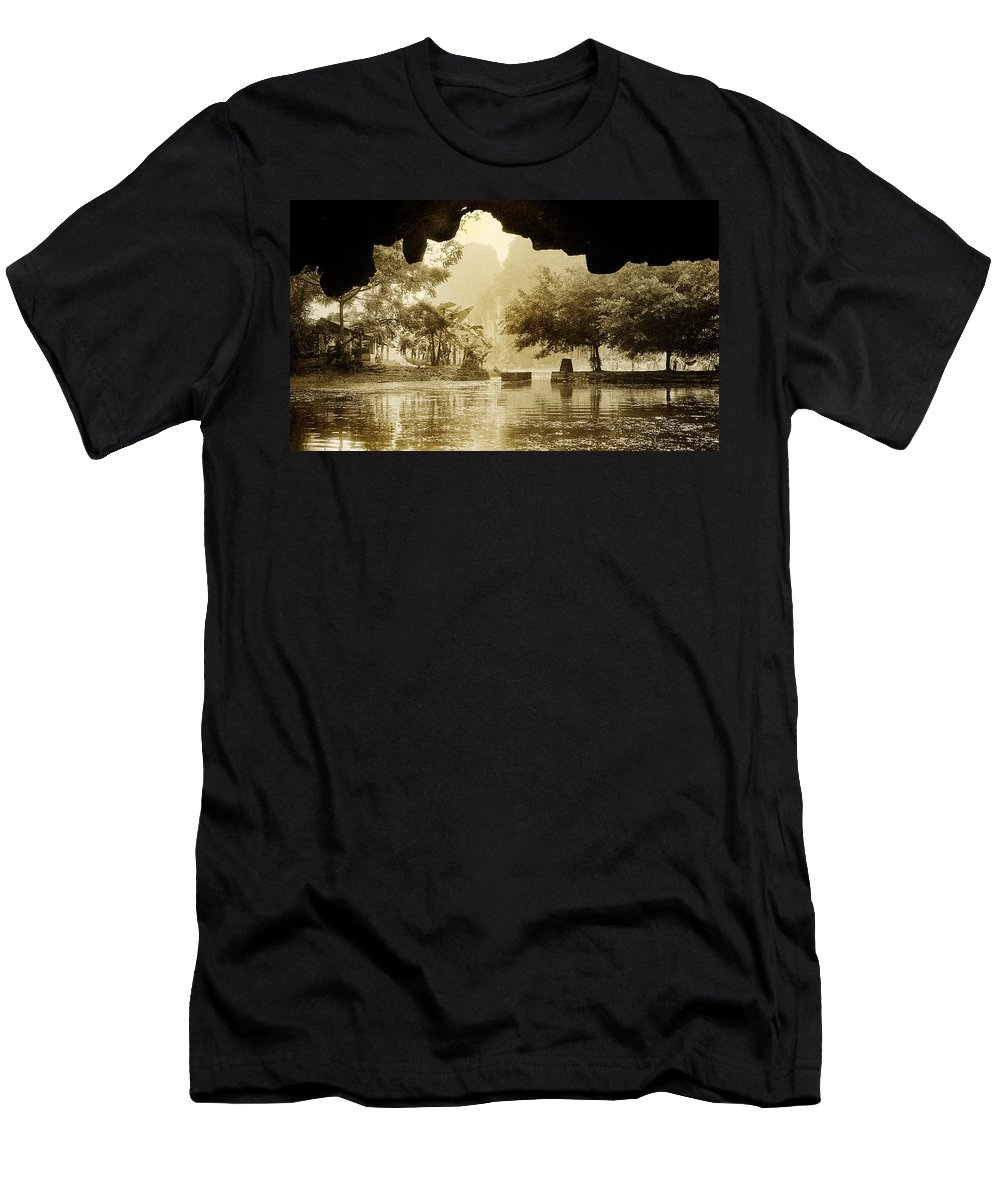 Tam Coc Men's T-Shirt (Athletic Fit) featuring the photograph Hut In Tam Coc From A Cave River by Weston Westmoreland