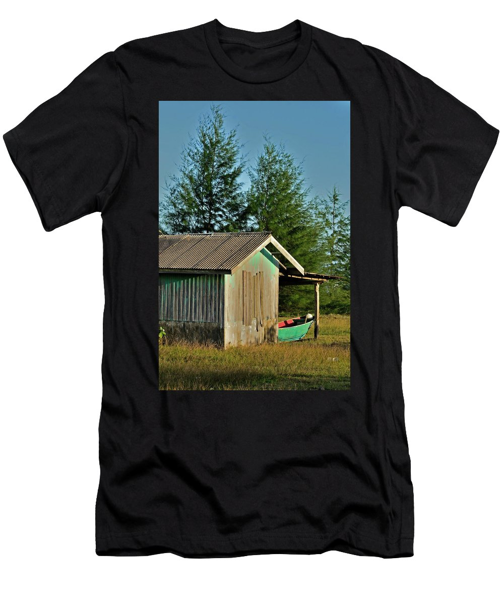 Boat Men's T-Shirt (Athletic Fit) featuring the photograph Hut With Green Boat by Rashdy Arshad
