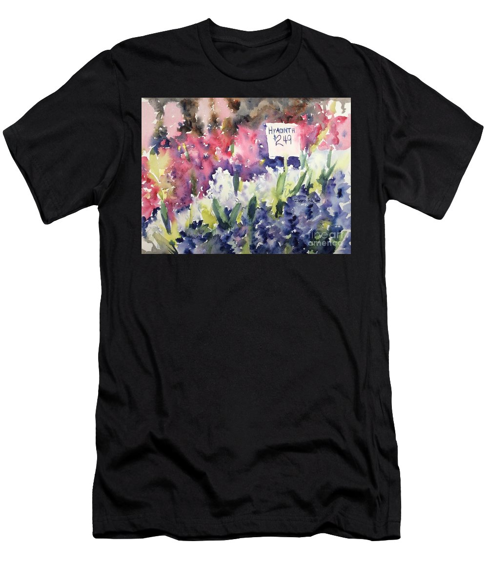 Hyacinth Men's T-Shirt (Athletic Fit) featuring the painting Hyacinths by Diane Wallace