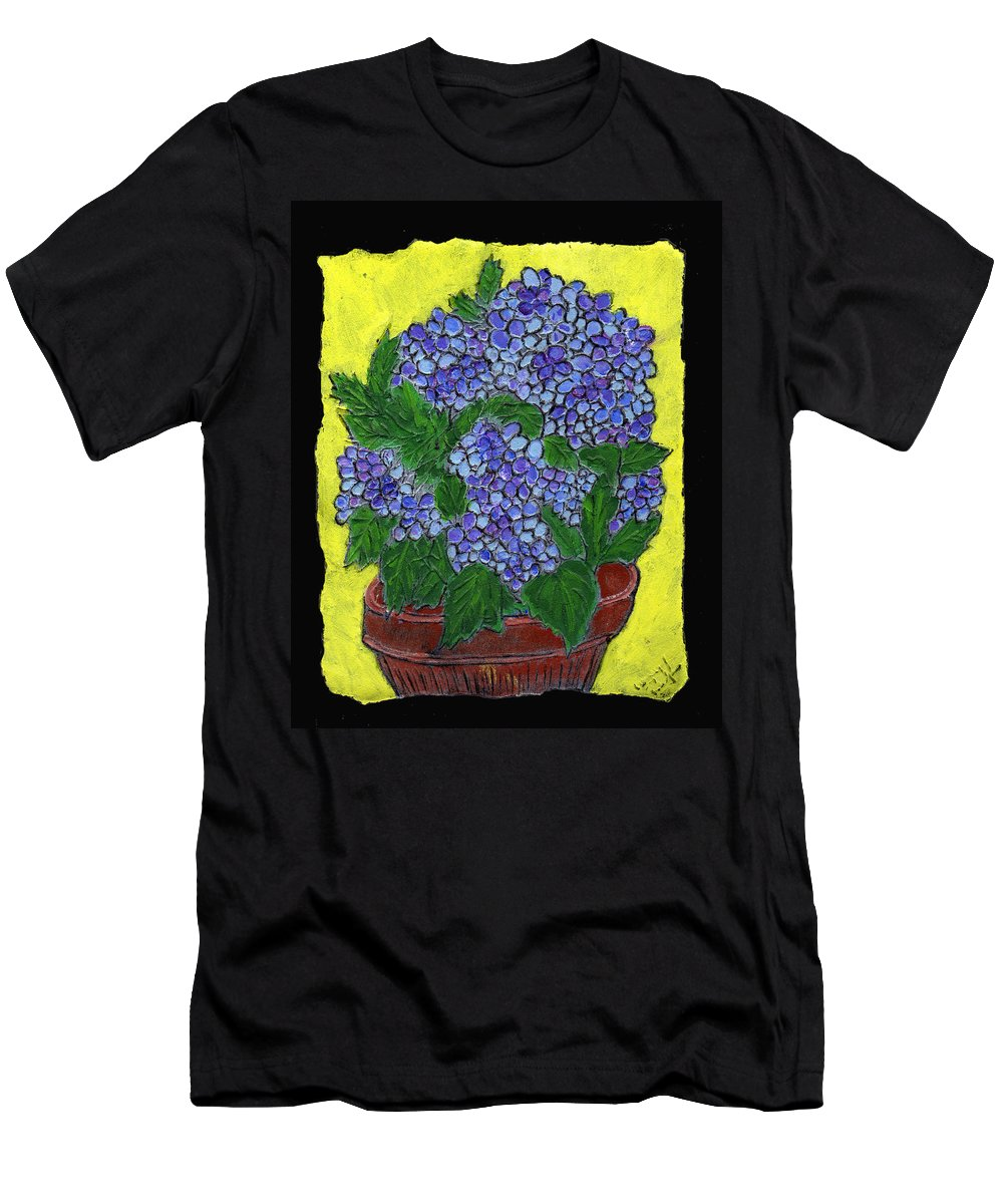 Flower Men's T-Shirt (Athletic Fit) featuring the painting Hydrangea In A Pot by Wayne Potrafka