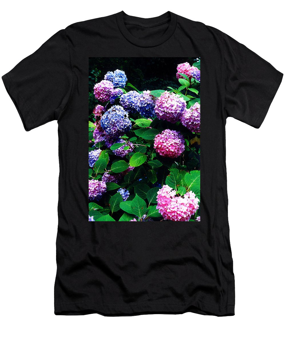 Flowers Men's T-Shirt (Athletic Fit) featuring the photograph Hydrangeas by Nancy Mueller