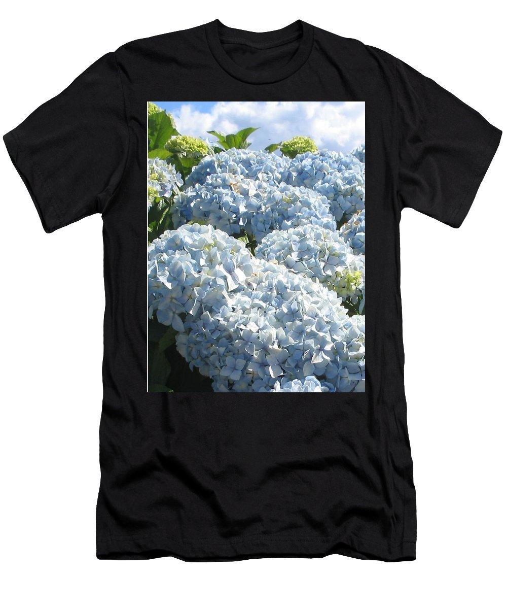Blue Hydrangea Men's T-Shirt (Athletic Fit) featuring the photograph Hydrangeas by Valerie Josi