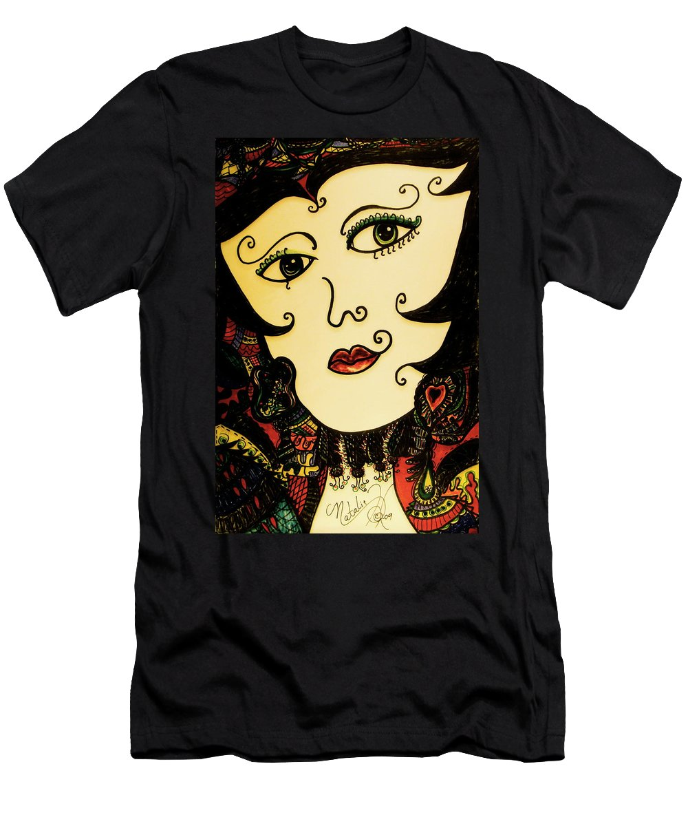 Female Men's T-Shirt (Athletic Fit) featuring the drawing Hypnotic Beauty by Natalie Holland