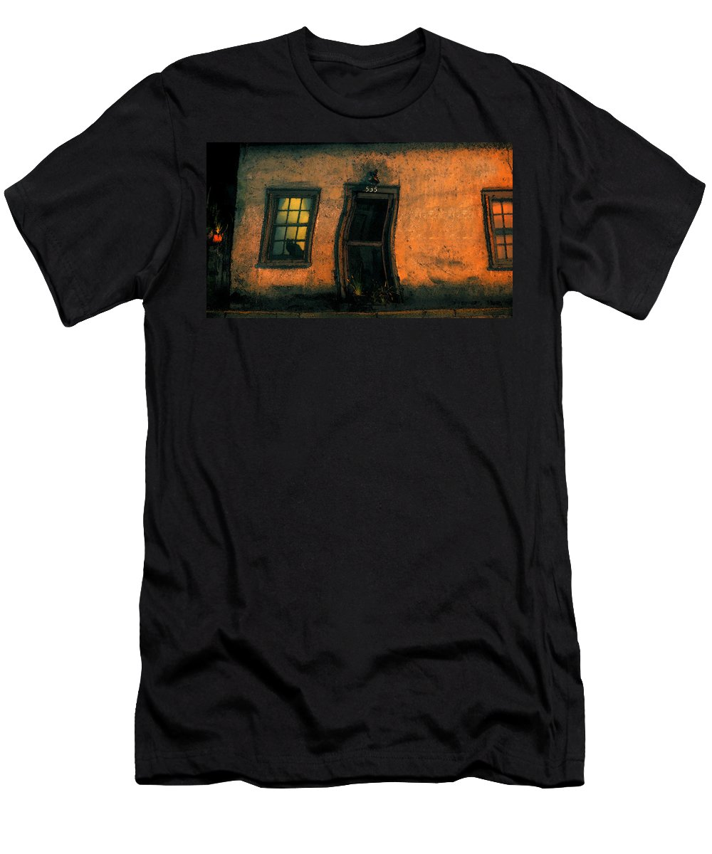 Cat Men's T-Shirt (Athletic Fit) featuring the painting I Dreamed A Black Cat by David Lee Thompson